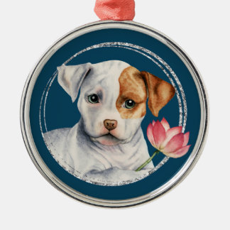 Puppy Holding Lotus Flower with Faux Silver Ring Metal Ornament