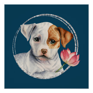 Puppy Holding Lotus Flower with Faux Silver Ring Poster