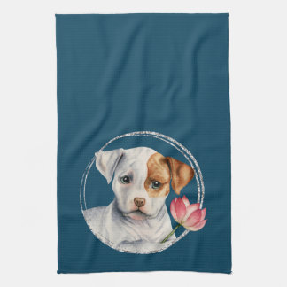 Puppy Holding Lotus Flower with Faux Silver Ring Tea Towel