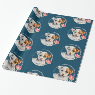 Puppy Holding Lotus Flower with Faux Silver Ring Wrapping Paper