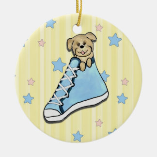 Puppy in a Blue Shoe Ornament