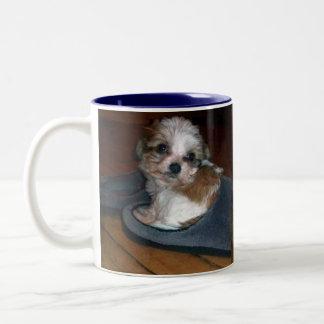 Puppy in a slipper. Two-Tone coffee mug