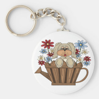 Puppy In A Watering Can Keychain