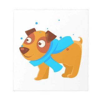 Puppy In Blue Scarf Walking Outside In Winter Notepad