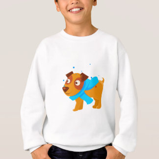 Puppy In Blue Scarf Walking Outside In Winter Sweatshirt