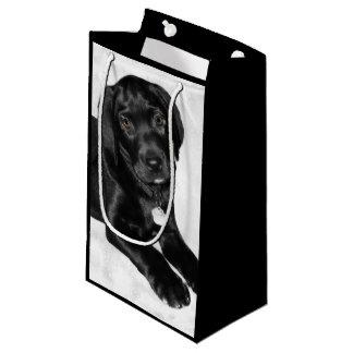 Puppy love black labrador small gift bag