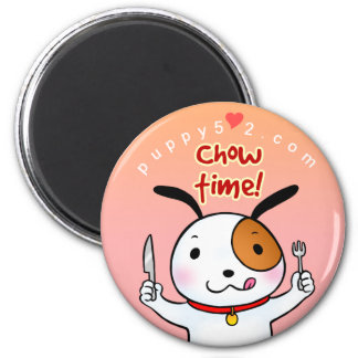 Puppy Love Chow Time 6 Cm Round Magnet