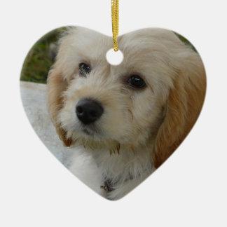 Puppy Love - Cute MaltiPoo Dog Photo Ceramic Ornament