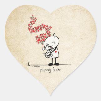 Puppy love - dog lover heart sticker
