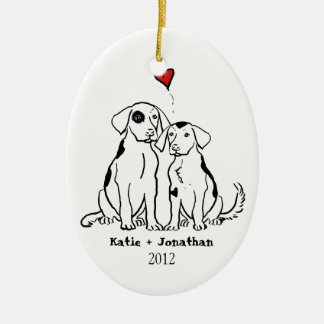 Puppy Love First Christmas Wedding Ornament