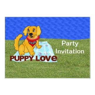 """Puppy Love 5"""" X 7"""" Invitation Card"""