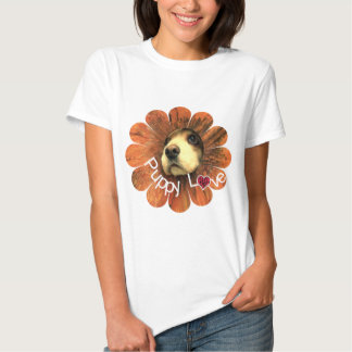 Puppy Love Peeking Out of a Flower T-shirts