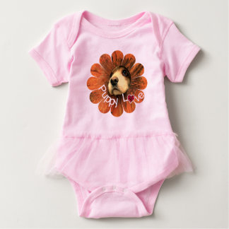 Puppy Love Peeking Out of a Flower Tees