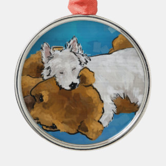 Puppy Love Silver-Colored Round Decoration