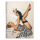 Puppy Lover Pin-up Girl - Retro Pinup Art Notebook