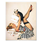 Puppy Lover Pin-up Girl - Retro Pinup Art Photo Print