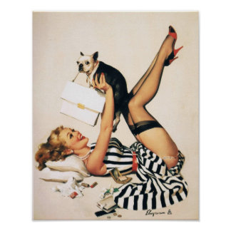 Puppy Lover Pin-up Girl - Retro Pinup Art Poster