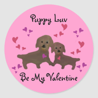 Puppy Luv Valentine Round Sticker
