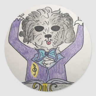 Puppy Maestro Round Sticker