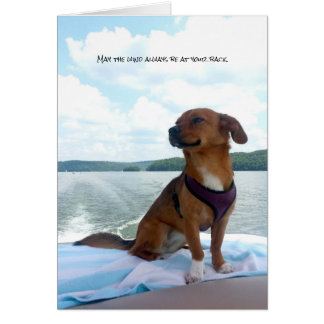 Puppy on Boat Wind at Back Sentiments Card