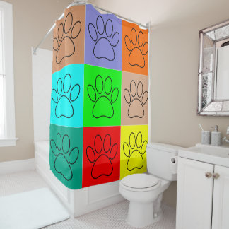 Puppy Paws In Squares Shower Curtain
