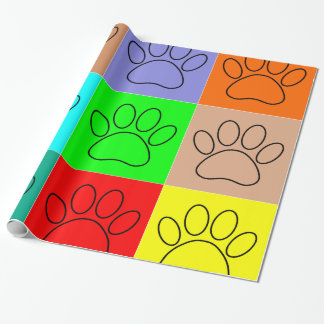 Puppy Paws In Squares Wrapping Paper