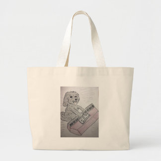 puppy piano large tote bag