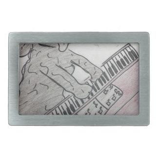 puppy piano rectangular belt buckle