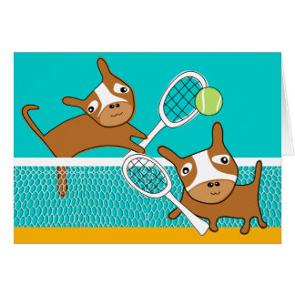 Puppy Play Tennis Blank Card 2