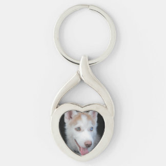 Puppy preschool Silver-Colored twisted heart key ring