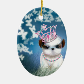 Puppy Princess Ceramic Ornament
