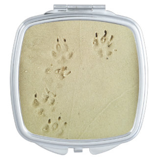 Puppy prints in the sand compact mirror