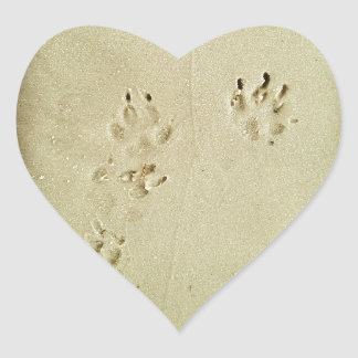 Puppy prints in the sand heart sticker