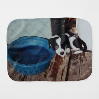Puppy Resting Against Water Bowl Burp Cloth