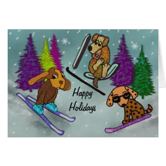 Puppy Ski Vacation Happy Holidays Note Card