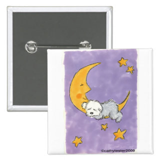 Puppy sleeping on the moon button