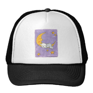 Puppy sleeping on the moon mesh hats