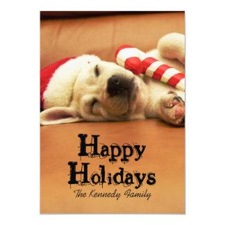 Puppy sleeps on sofa with christmas toys 13 cm x 18 cm invitation card
