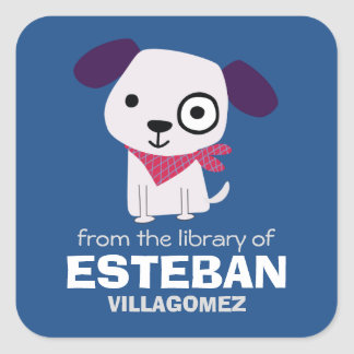 Puppy Square Bookplates Square Sticker