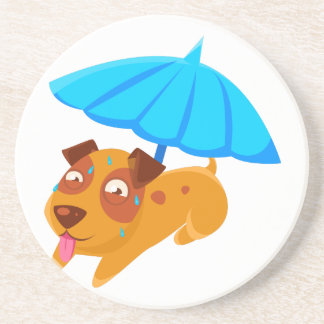 Puppy Sweating Under Umbrella On The Beach Coaster