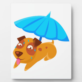 Puppy Sweating Under Umbrella On The Beach Plaque