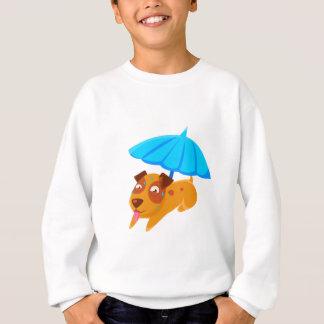 Puppy Sweating Under Umbrella On The Beach Sweatshirt