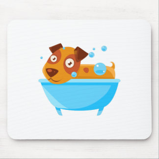 Puppy Taking A Bubble Bath In  Tub Mouse Pad