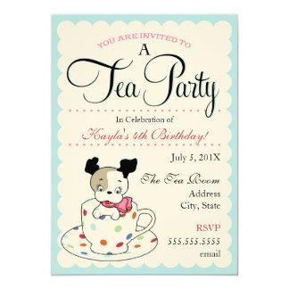 Puppy Tea Party  |  Retro Birthday Invitations