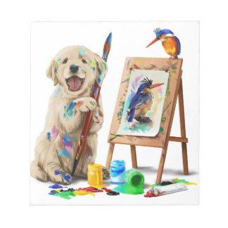 Puppy the artist draws the bird notepad