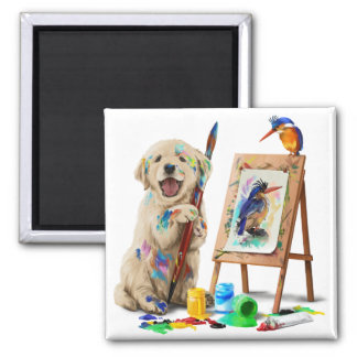 Puppy the artist draws the bird square magnet
