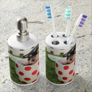 Puppy Toothbrush Holder and Soap Dispenser Set