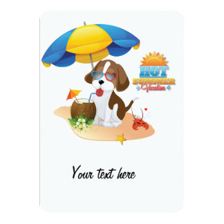 Puppy vacation 13 cm x 18 cm invitation card