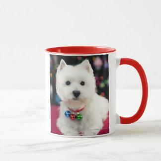 Puppy wearing Christmas bell on neck Mug