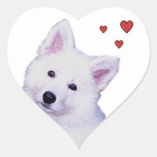Puppy white shepherd heart sticker